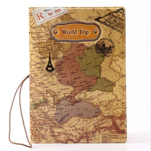 Travel World Passport Holder Ticket Document Protector Cover Case Bag - Moisturizer Day Juice Beauty