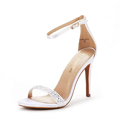 92f464e8092e DREAM PAIRS Women s Karrie-Shine White High Stiletto Pump Heel Sandals Size  5 B(