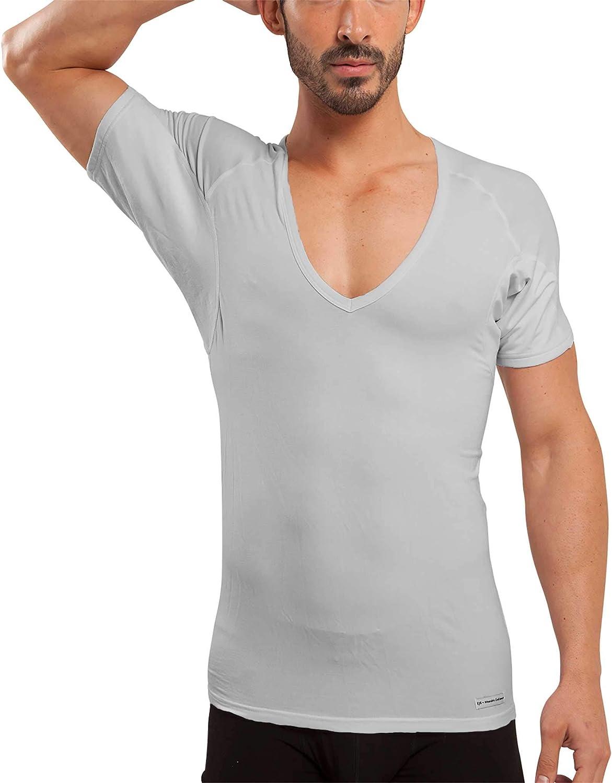 Ejis Sweat Proof Undershirts Men w//Sweat Pads /& Real Silver Cotton V Neck