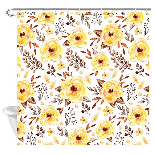 Yellow Flowers Wallpaper Shower Curtain, Watercolor Retro Styled Single Romantic Lush Nature Floral Foliage Blossom Wallpaper Bath Curtains, Fabric Shower Curtain Bathroom 12PCS Hooks, 69X70 in