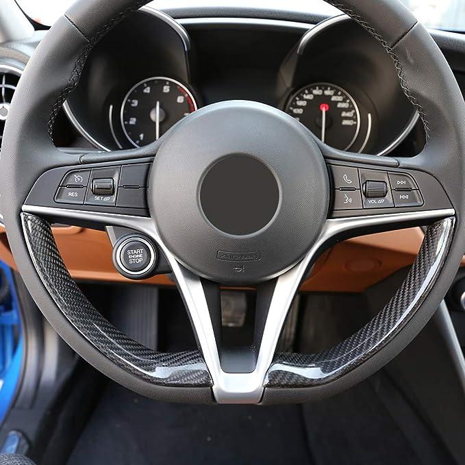 2 X Echt Carbon Faser Auto Lenkrad Dekoration Strip Besatz Für Giulia Stelvio Aramid Fasern Zubehör Auto