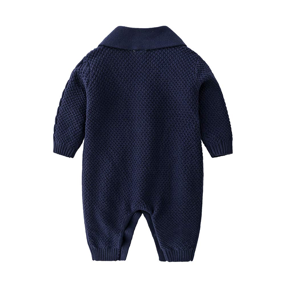JooNeng Baby Newborn Cotton Knitted Sweater Romper Longsleeve Outfit with Warm Hat Set