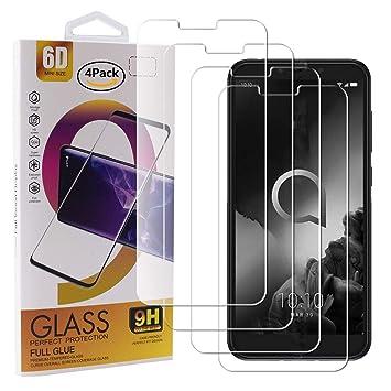 Guran 4 Paquete Cristal Templado Protector de Pantalla para Alcatel 1S (2019) Smartphone 9H Dureza Anti-Ara?azos Alta Definicion Transparente Película: Amazon.es: Electrónica