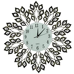 """Lulu Decor, 25"""" Antique Metal Wall Clock, 9"""" White Glass Dial with Arabic Numbers, Decorative Clock for Living Room, Bedroom, Office Space"""