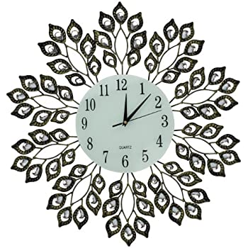 amazon com lulu decor decorative leaf metal wall clock glass dial rh amazon com Alarm Clock Clip Art Funny Clock Face Clip Art