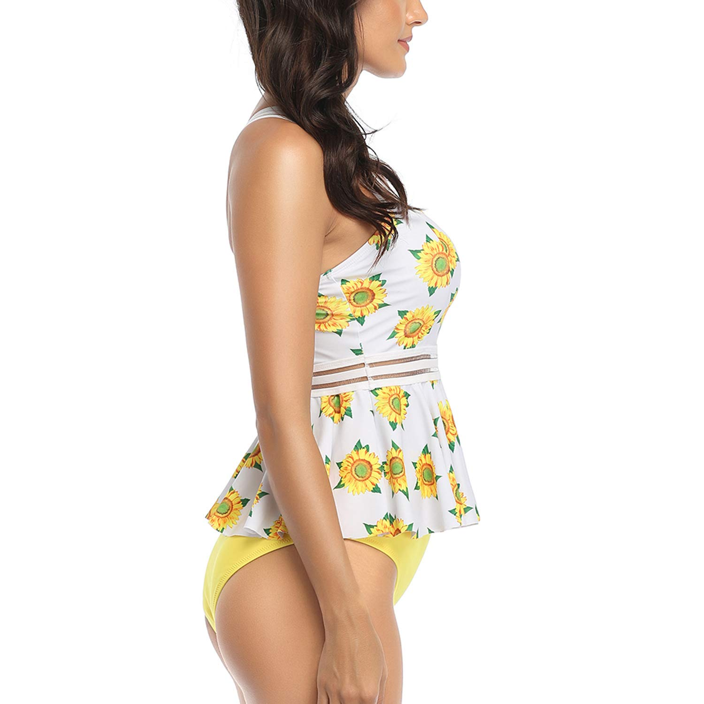 Lus Chic Womens Flounce Swimsuit Tummy Control Cross Back Print Triangle Two Piece Tankini