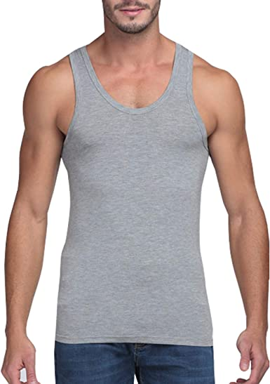 Herren Muskelshirt Tank Top Achselshirt Unterhemd Schwarz Grau 100/% Baumwolle