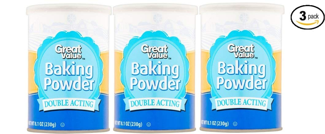 Great Value Double Acting Baking Powder 8.1 oz is Kosher (No Artificial Flavors or Colors) - Pack of 3