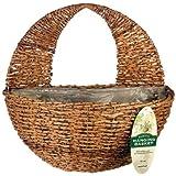 "Gardman R496 Rustic Rattan Hanging Wall Basket, 16"" Wide x 9"" Deep"