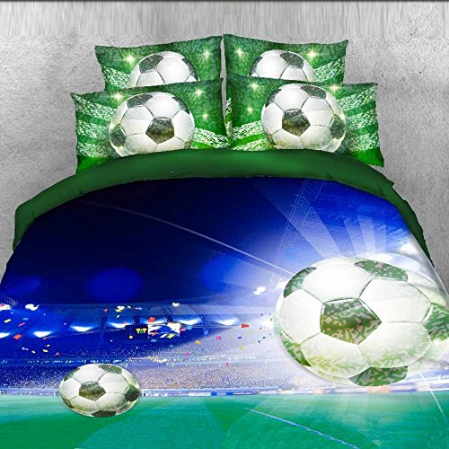 Alicemall 3D Soccer Stadium and Field Printed Blue and Green Duvet Cover Set 4 Pieces Cotton and Tencel Blended Super Soft Cool Sports Bedding Set, King Size Football Bedding (King, Deep Blue) by Alicemall