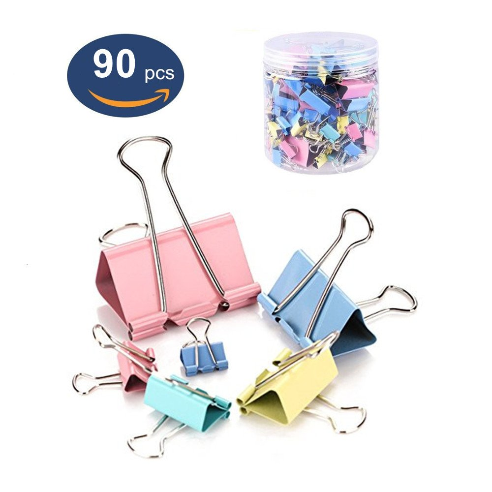 Binder Clips 90PCS Colored 6 Assorted Sizes Large Medium Small, OUHL Colorful Paper Clamps Foldback Clips for Office Schools Kitchen Home Usage (Multicolor)
