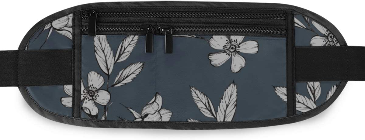Travel Waist Pack,travel Pocket With Adjustable Belt Botanical Drawing Flowers Cosmos Pattern Running Lumbar Pack For Travel Outdoor Sports Walking