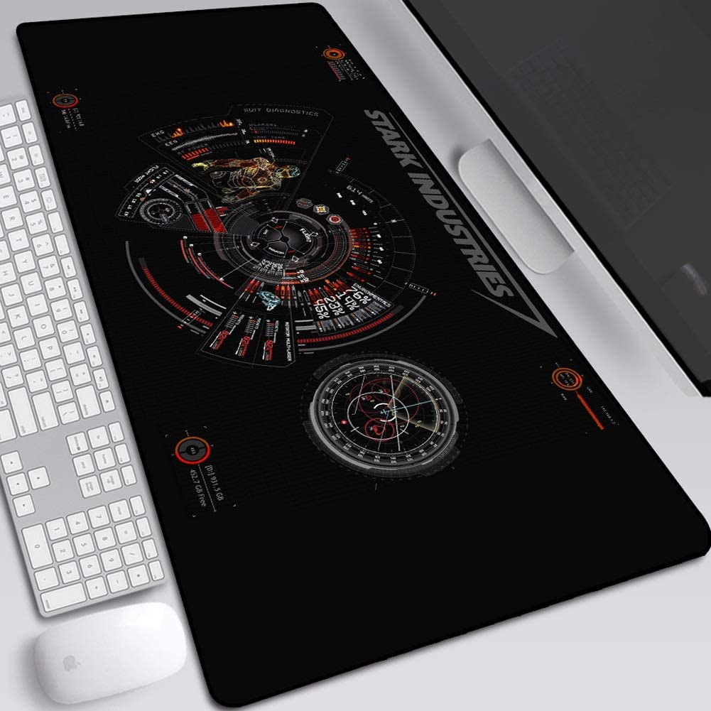 Stitched Edge Table Mat Keyboard Pad Leash Gaming Mouse Pad,Large Anime Mouse Pad Iron Armor Iron Man Stark Industrial Iron Man Marvel Iron Man Mouse Pad Oversized 800X300X3mm Non-Slip Rubber