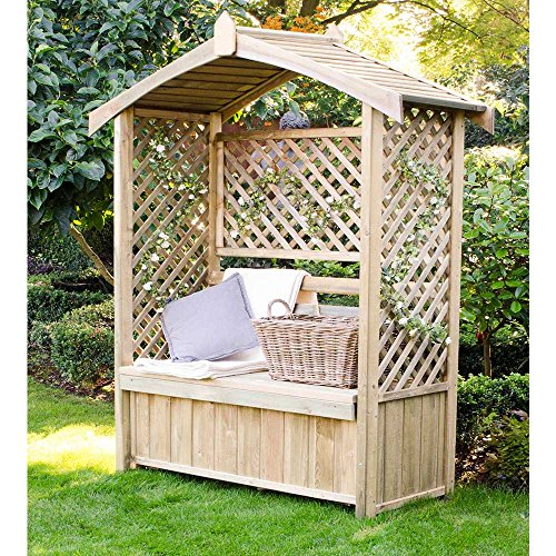 Pure Origins Lyon Garden Arbour with Storage Box Seat Lattice Sides Solid Roof