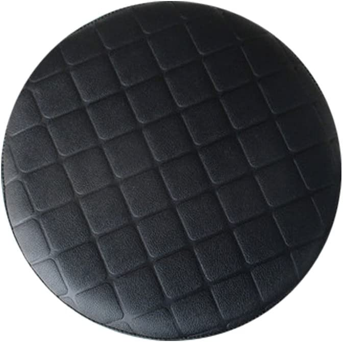 Rosavida 16 Inch Waterproof Round Stool Cover Faux Leather Lattice Round Barstool Seat Covers Black