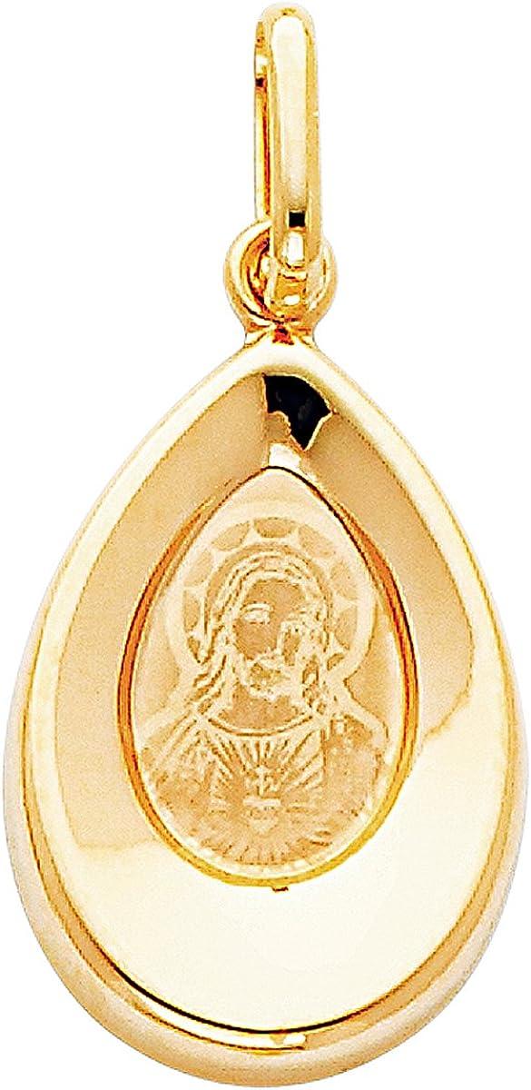 Colgante de oro amarillo de 14 quilates con Jesús Religioso, para adolescentes, niñas, mujeres, día de la madre, joyería de regalo, colgante/joyería religiosa para mamá/altura: 18 mm, ancho: 13 mm