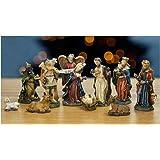 "Nativity Set - Set of 11 Nativity Figurines - Baby Jesus, Mary, Joseph, Shepherd, 3 Kings, Angel, Cow, Donkey and Sheep - 7/8"" to 2-3/4""H"
