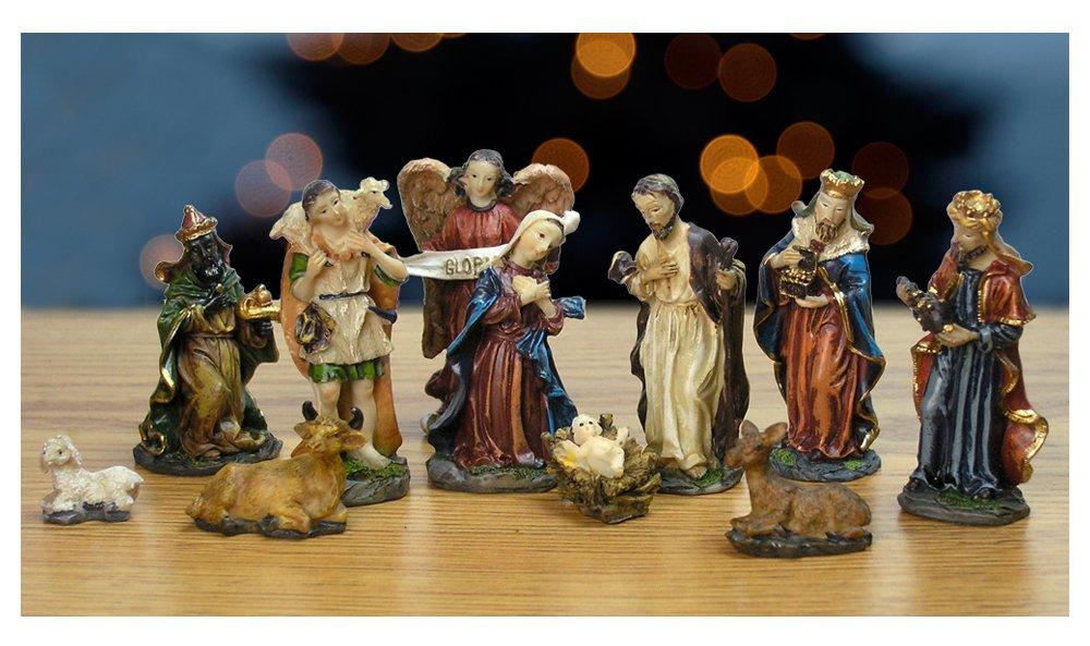 Nativity Set - Set of 11 Nativity Figurines - Baby Jesus, Mary, Joseph, Shepherd, 3 Kings, Angel, Cow, Donkey and Sheep - 7/8'' to 2-3/4''H