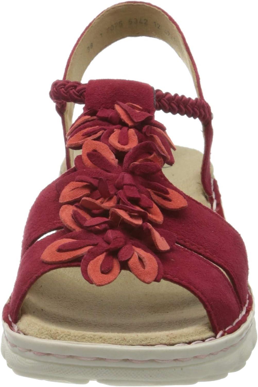ARA Tampa, Sandali con Cinturino alla Caviglia Donna Rosso Rot Corallo Rosso 77
