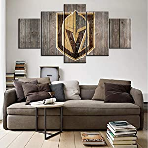 Black and White Painting on Canvas Wall Art Vegas Golden Knights Logo Picture Old Wood Rustic Home Decor Bedroom National Hockey League Artwork 5 Panel Ready to Hang Poster and Prints(60Wx32H inches)