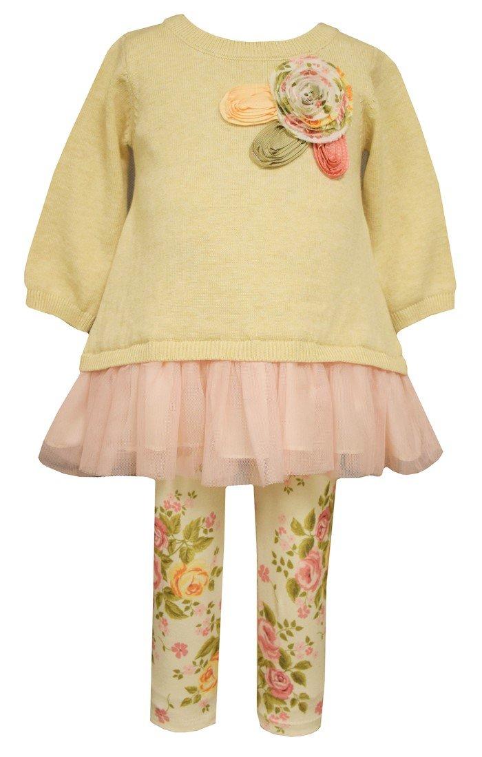 Bonnie Jean Little Girls Vintage Rose Sweater Legging Set 5