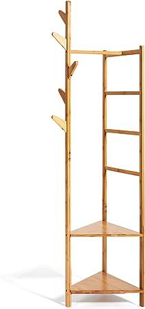 4 in 1 Naurale Appendiabiti 4 in 1 in bamb/ù versatile mensola angolare con 2 ripiani portaoggetti e 1 appendiabiti per corridoio soggiorno camera da letto Hododou Bamb/ù 181 cm