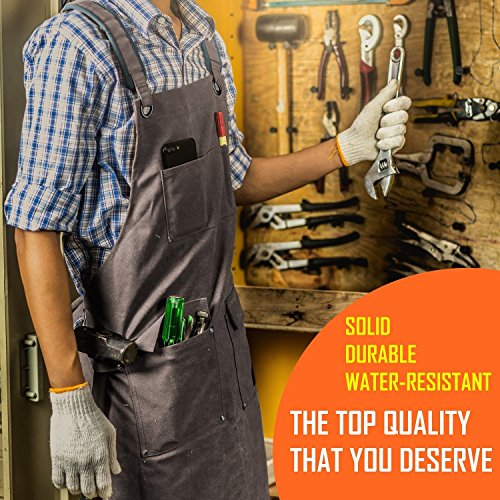 Luxury Waxed Canvas Shop Apron | Heavy Duty Work Apron for Men & Women with Pocket & Cross-Back Straps | Adjustable Tool Apron Up To XXL | Long, Thick, Water Resistant Workshop Apron in Gift Box by GIDABRAND (Image #3)