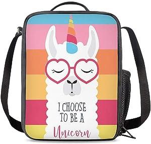 PrelerDIY Rainbow Llama Unicorn Lunch Box Food Bag Picnic Pouch Insulated Lunch Bag for Teenage Boys Girls School Beach