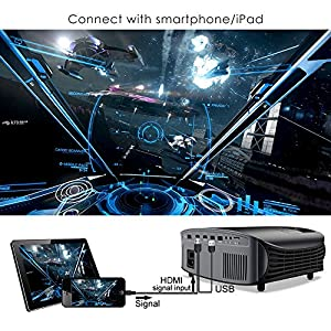Projector, GooDee Upgraded 5800 Lumens Video Projector 200″ HD LCD Home Cinema Projector Support 1080P HDMI VGA AV USB MicroSD for Home Entertainment, Party and Games