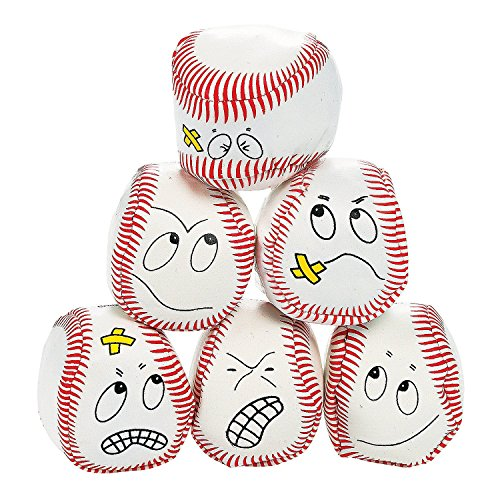 Plush Baseball (12 silly face Vinyl Baseball Kick Balls)