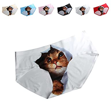 88767bedbb40 Amazon.com: FasiCat Pussycat Panties Cat Underwear Safty Sexy Lingerie  Hipsters Invisible 3D Cat Brief For Women One Size White: Clothing