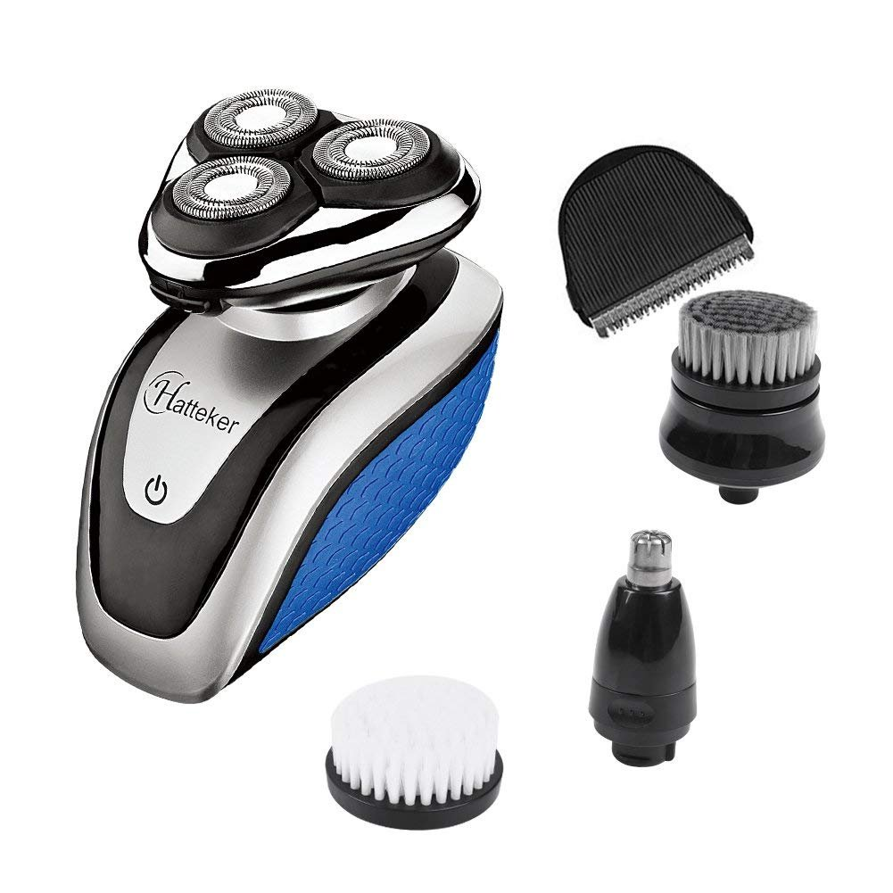 HATTEKER 電動シェーバー&ヘアクリッパー Electric Shaver Razor For Men All In One Bald Hair Trimmer Beard & Nose Trimmer Facial Cleansing Brush Waterproof Rechargeable (並行輸入品) One Size One Color B07FBNDRLL