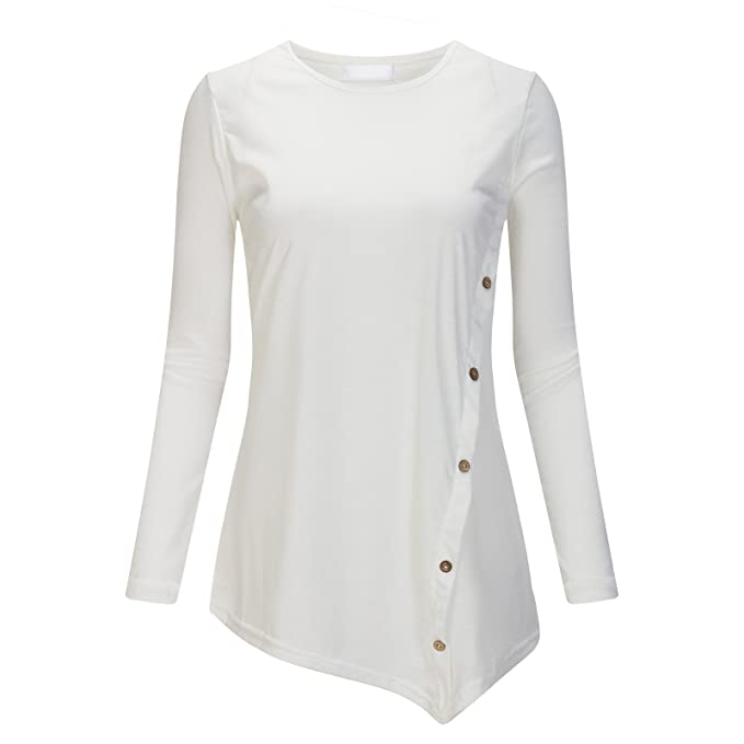 Beauty7 ES 42 Camisas Mujeres Manga Larga Cuello Redondo Asim¨¦trico Botones Vestido Verano