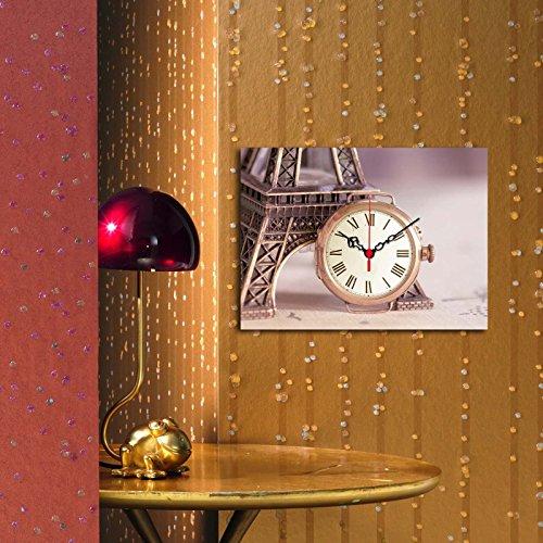 LaModaHome Home Decorative Canvas Wall Art with BIG REAL RUNNING CLOCK (11