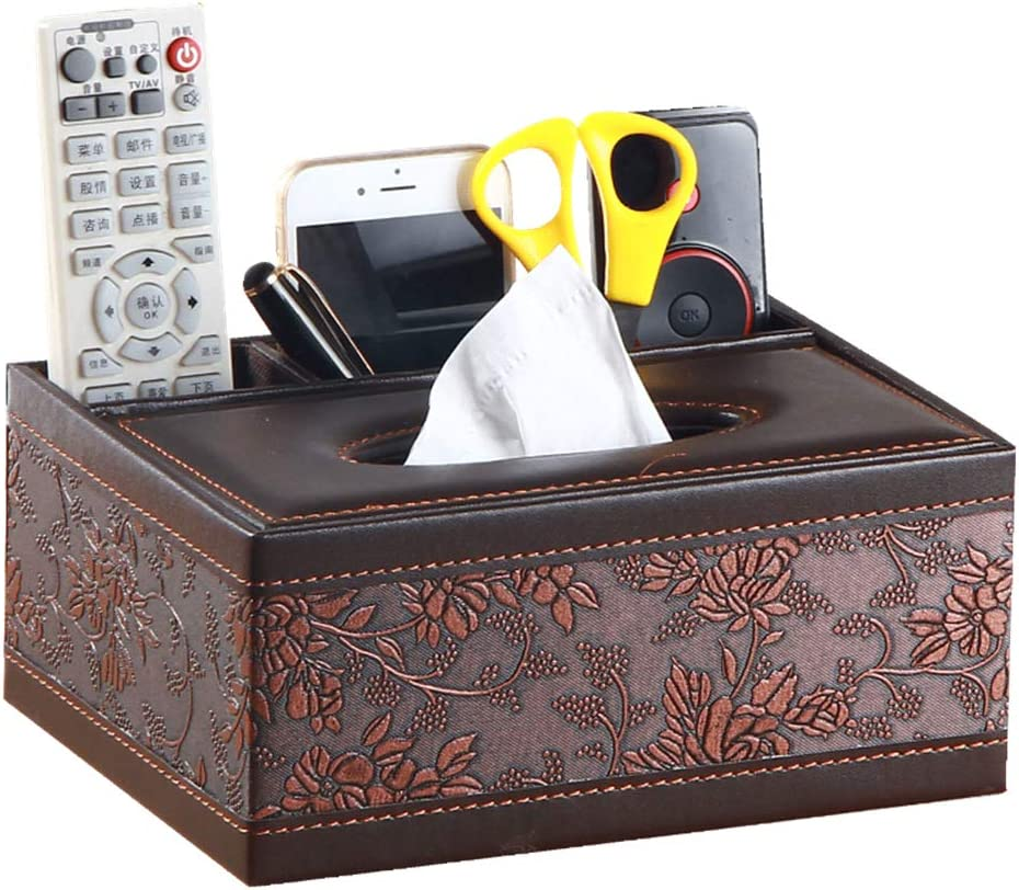 Multifunction Leather Pen Pencil Remote Control and Tissue Box Cover,Holder, Desk Storage Box Container for Home and Office Use (antique)