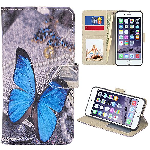 UrSpeedtekLive iPhone 6S Plus Case, iPhone 6 Plus Case, Premium PU Leather Flip Wallet Case Cover with Card Slots Holder & Stand for Apple iPhone 6s Plus/6 Plus, Butterfly