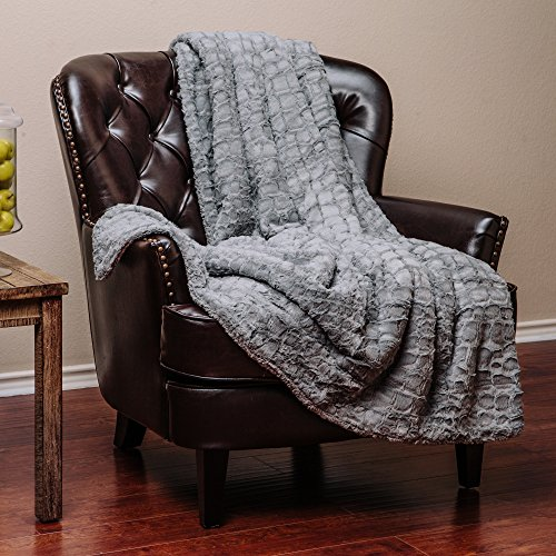 Gray Fur (Chanasya Super Soft Warm Elegant Cozy Fuzzy Fur Fluffy Faux Fur with Sherpa Stone Embossed Pattern Gray Microfiber Throw Blanket (50