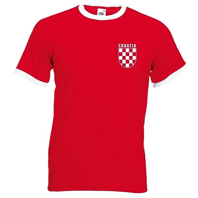 a5fe7fc3c93 Retro Croatia Football Ringer T Shirt World Cup 2018 Croatian Vintage Check  Men Fans L254  Amazon.co.uk  Clothing