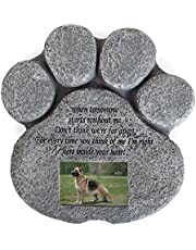 Pet Memorial Stone For Cats And Dogs – Paw Shaped Headstone With Loss Comforting Poem Photo Frame Grave Marker For Outdoor Tombstone Or Indoor Display