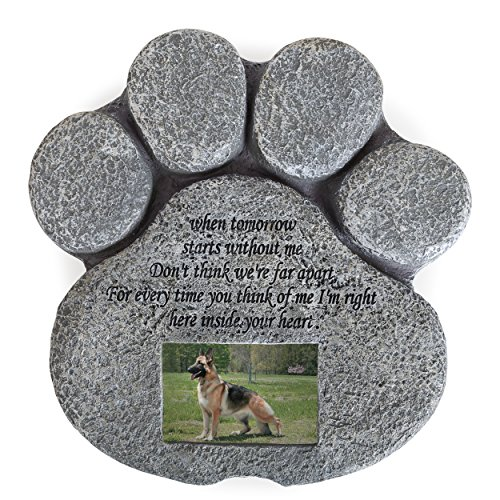 Besti Pet Memorial Stone for Cats and Dogs - Paw Shaped Headstone with Loss Comforting Poem, Photo Frame Grave Marker for Outdoor Tombstone Or Indoor Display ()