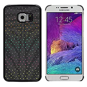 Design for Girls Plastic Cover Case FOR Samsung Galaxy S6 EDGE Polka Dot Grey Abstract Rainbow Pattern OBBA