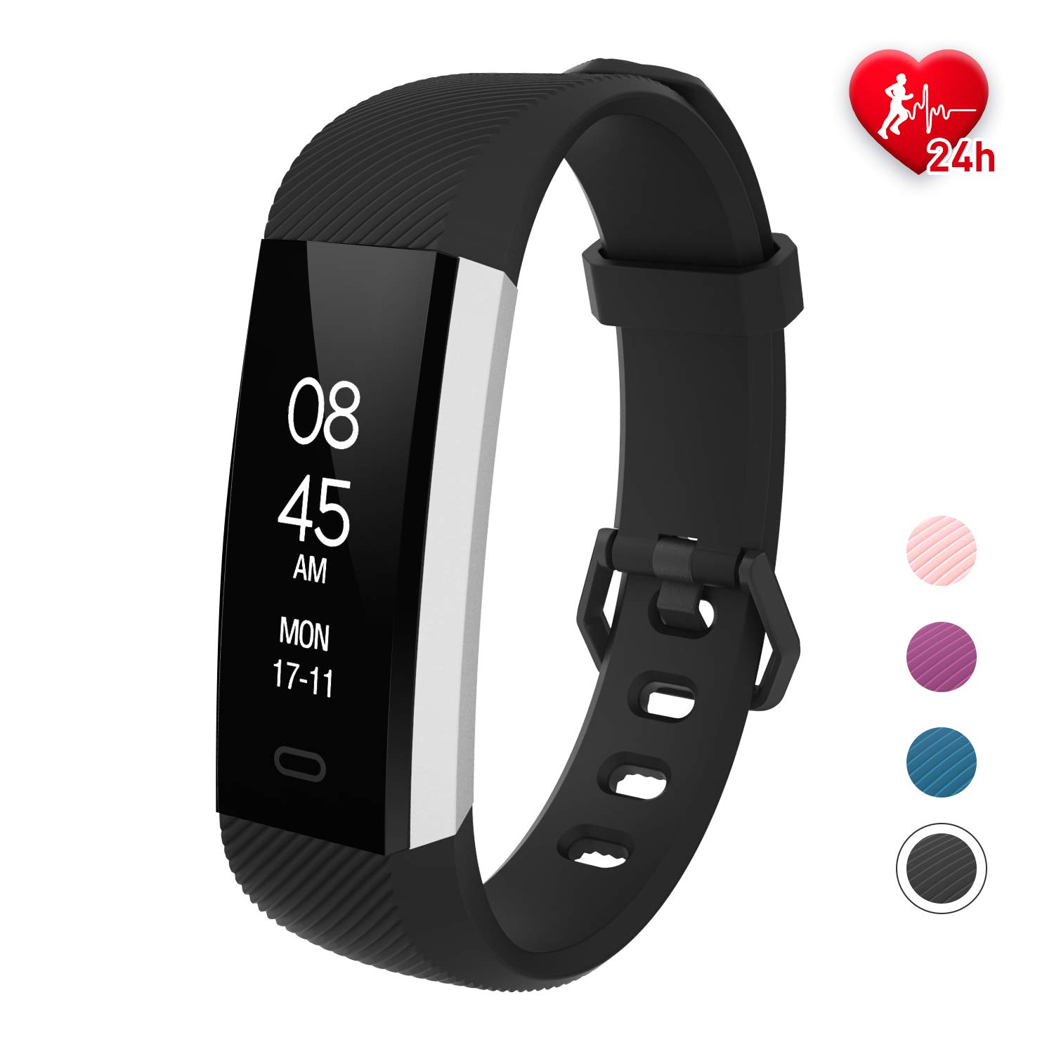 Fitpolo Fitness Tracker HR, Fitness Band with Heart Rate Monitor, Pedometer Watch, Waterproof Smart Band Activity Tracker with Step Counter, Sleep Monitor, Calorie Counter for Kids Women and Men