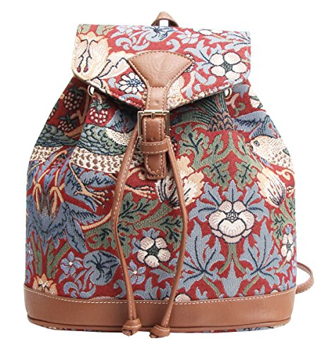Red Flower and Bird William Morris Strawberry Thief Tapestry Flap Buckle Pull String Fashion Casual Rucksack Backpack by Signare (RUCK-STRD)