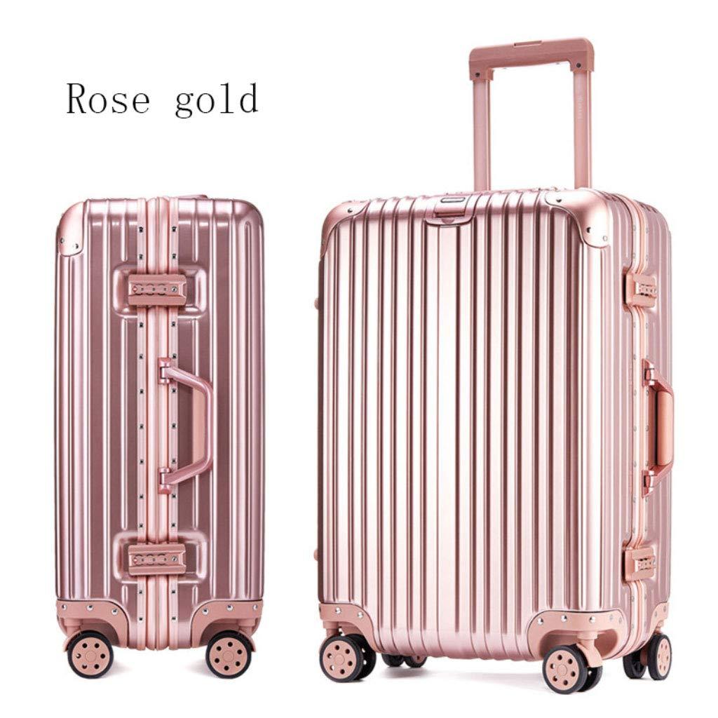 アルミフレームトロリーケーススーツケース24インチの荷物は、20インチの学生のパスワードボックスを搭乗 (Color : ローズゴールド, Size : 24 inches)   B07R4KYF3C