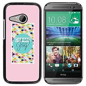 Be Good Phone Accessory // Dura Cáscara cubierta Protectora Caso Carcasa Funda de Protección para HTC ONE MINI 2 / M8 MINI // Pink Teal Checkered Text Joy Peach Tiles