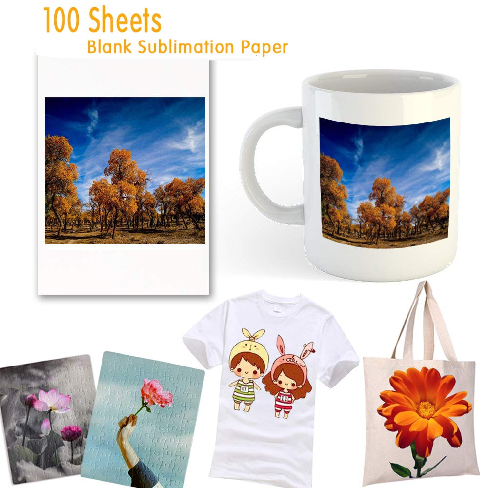 Sublimation Paper 100 Sheets Sublimation Ink Transfer Paper Inkjet Printer Paper 8.27x11.7 inches for Heat Transfer Sublimation Mugs T-shirts Light Fabric by Heat-Goo