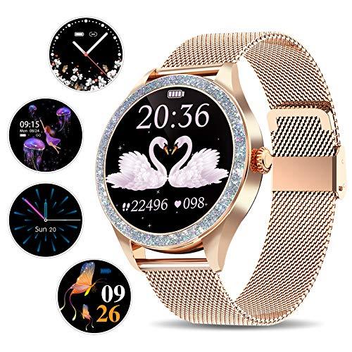 Yocuby Smartwatch, voor dames, stijlvol, 1,1 inch, volledig touchscreen, fitnesshorloge met IP68 waterdicht/vrouwelijk…