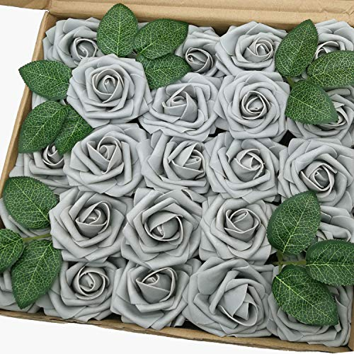 J-Rijzen Jing-Rise Artificial Roses 50pcs Real Looking Grey Foam Flowers with Stem for Bride Wedding Bouquet Baby Shower Flowers Centerpieces Party Home Decoration (Grey)