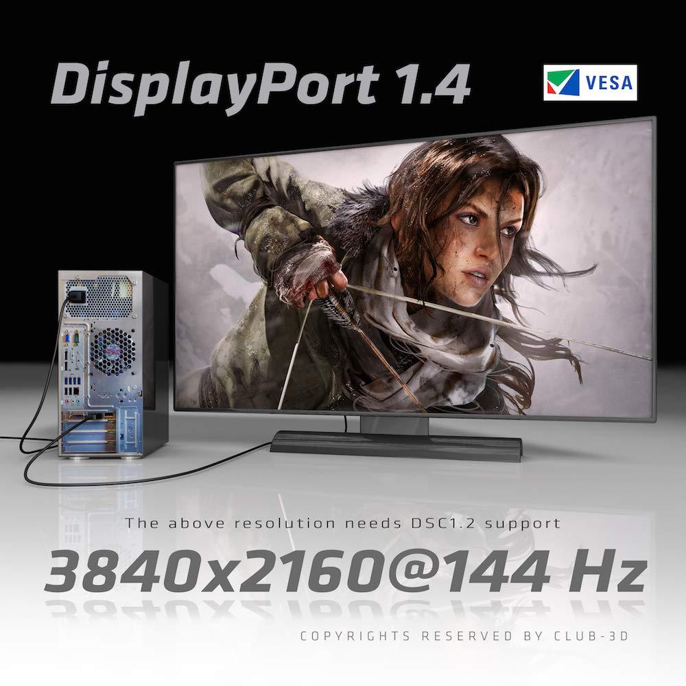 Club3D CAC-1115 DisplayPort to Mini DisplayPort 1.4/HBR3 Cable Male/Male 2m/6.56', Black Vesa Certified by CLUB3D (Image #6)