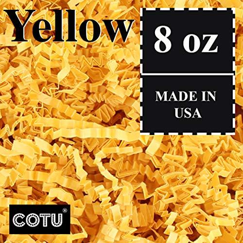 COTU (R) 1/2 LB Yellow Crinkle Shred Gift Basket Shred Crinkle Paper Filler Bedding (8 oz)]()
